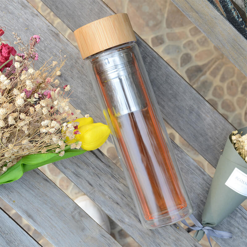 High Quality Glass Water Bottle 280ml Ceramic Coffee Mug With Bamboo Bottom Cover Tea Tumbler