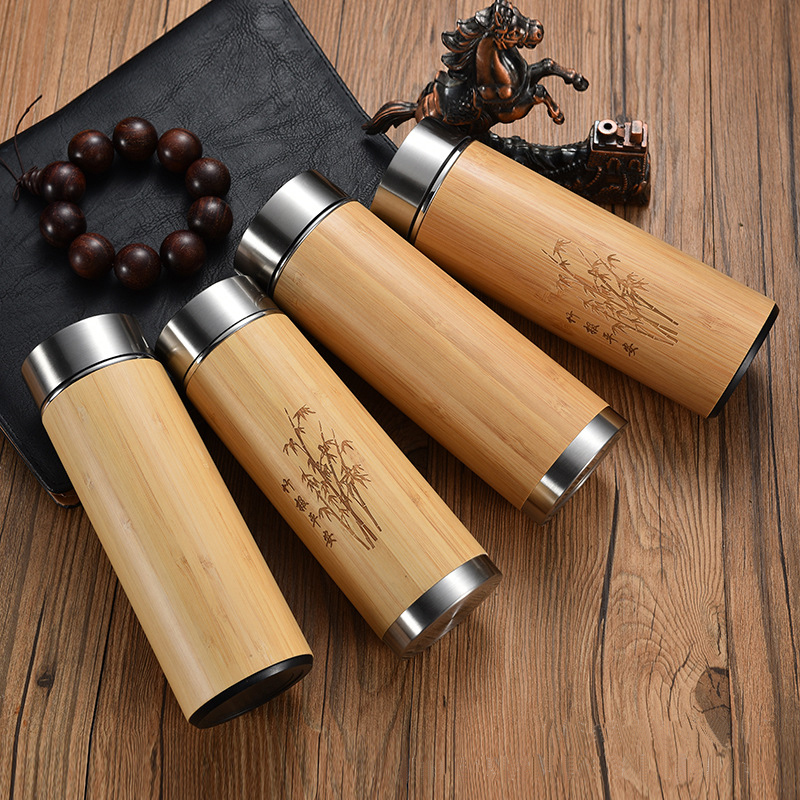 Bamboo Insulated Stainless Steel Water Bottle Vacuum Thermos Cup Insulated Flask Coffee Mug