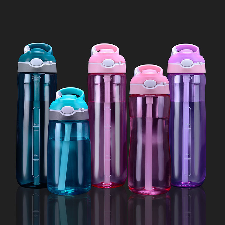 Portable BPA Free Plastic Sports Water Bottle With Straw Drinking Water Bottle