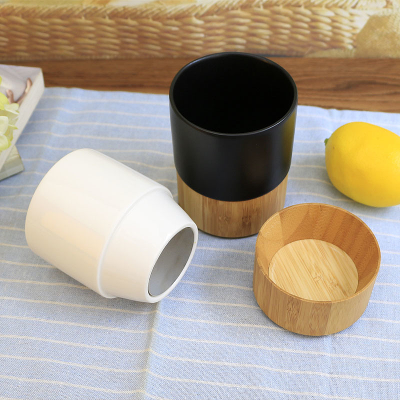High Quality 280ml Ceramic Coffee Mug With Bamboo Bottom Cover Ceramic Coffee Cup